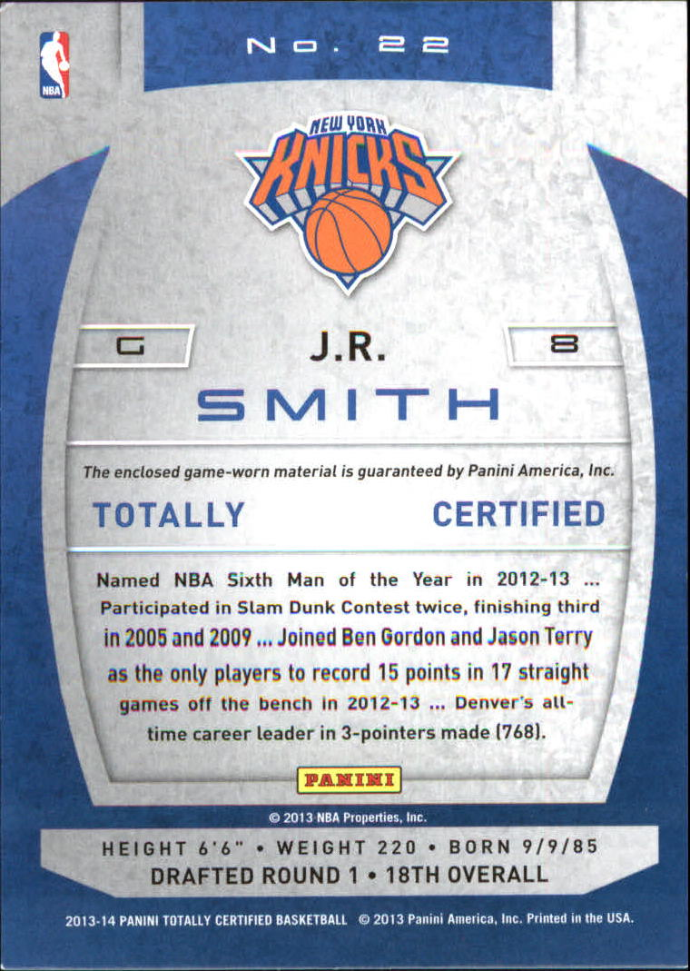 2013-14 Totally Certified Materials #22 J.R. Smith back image