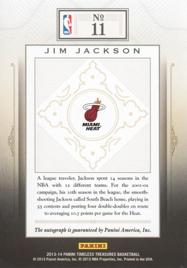 2013-14 Timeless Treasures Treasured Ink #11 Jim Jackson/299 back image