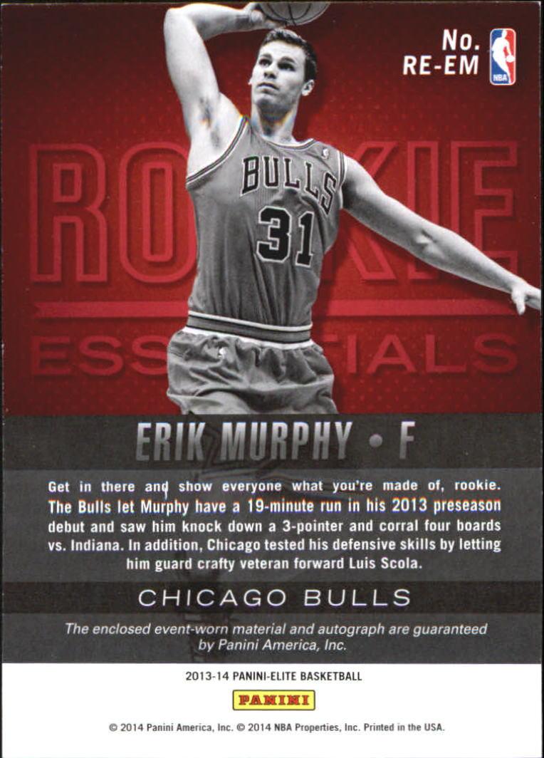 2013-14 Elite Rookie Essentials Autograph Jerseys #22 Erik Murphy/599 back image
