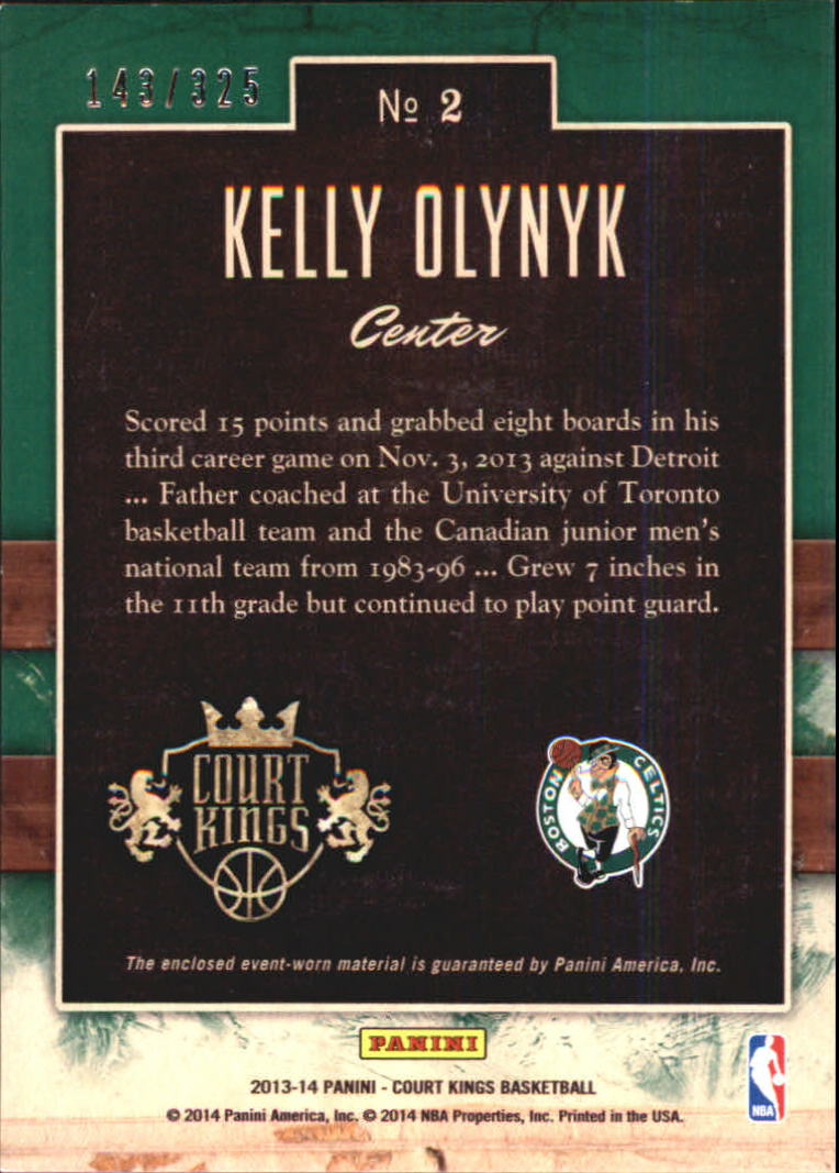 2013-14 Court Kings Art Nouveau Jerseys #2 Kelly Olynyk back image