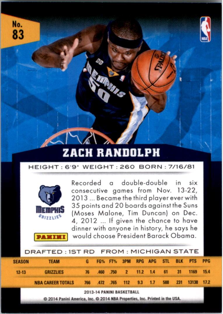 2013-14 Panini #83 Zach Randolph back image