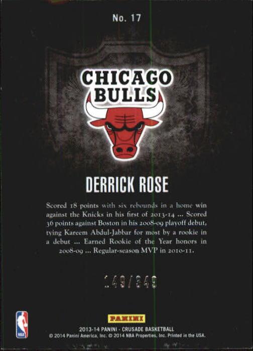 2013-14 Panini Crusade Insert Red #17 Derrick Rose back image