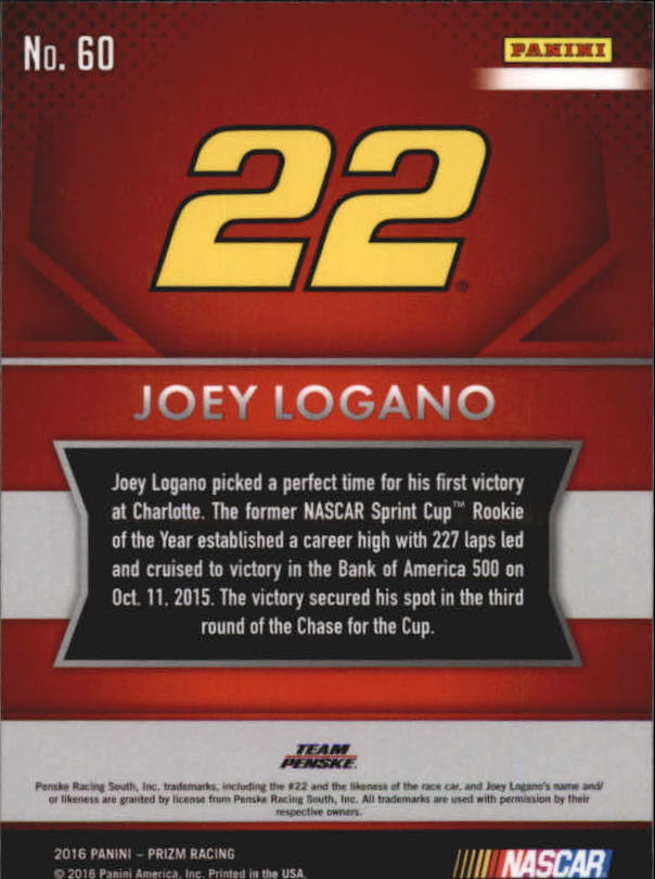 2016 Panini Prizm #60 Joey Logano back image