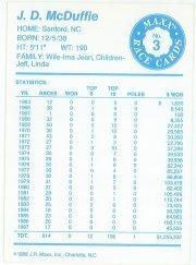 1988 Maxx Charlotte #3 J.D. McDuffie RC back image
