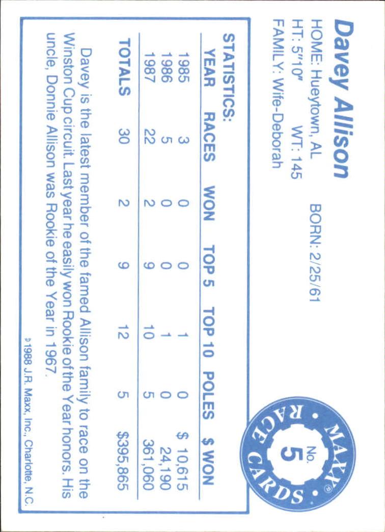 1988 Maxx Charlotte #5 Davey Allison RC back image