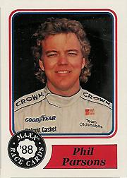 1988 Maxx Charlotte #26 Phil Parsons/mentions wife Marcia