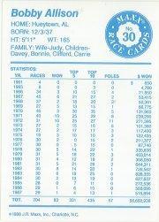 1988 Maxx Charlotte #30 Bobby Allison RC back image