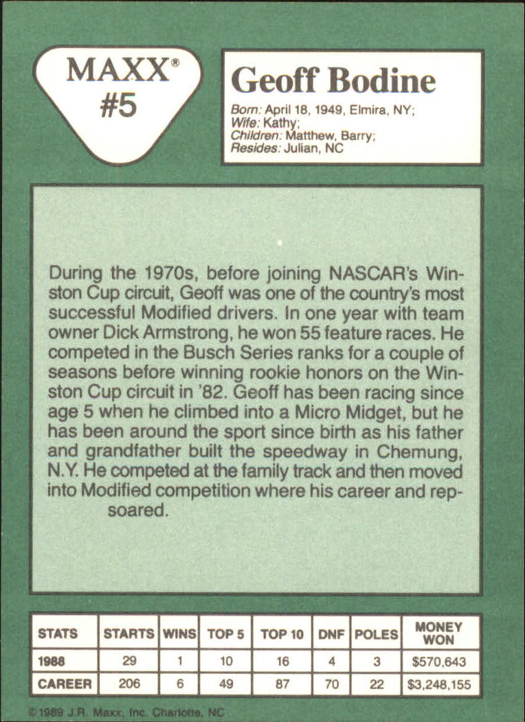 1989 Maxx #5A Geoff Bodine ERR/last line of text incomplete back image