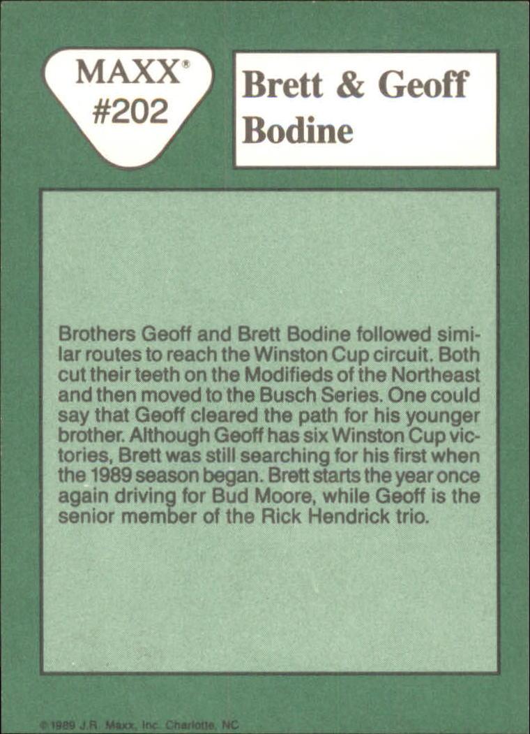 1989 Maxx #202 Brett Bodine/Geoff Bodine back image