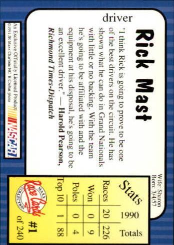 1991 Maxx #1 Rick Mast back image