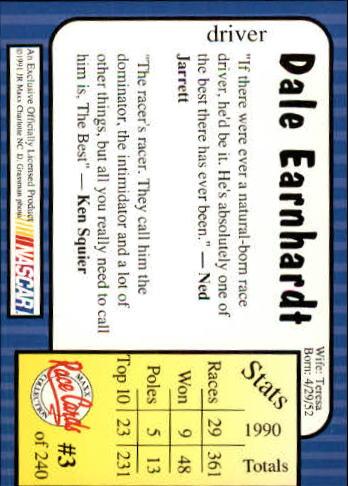 1991 Maxx #3 Dale Earnhardt back image