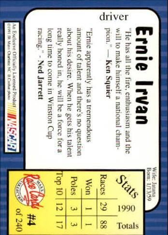 1991 Maxx #4 Ernie Irvan back image