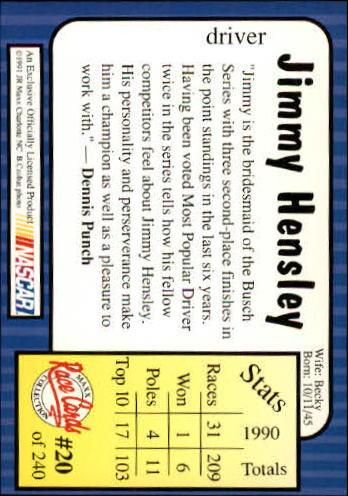 1991 Maxx #20 Jimmy Hensley back image