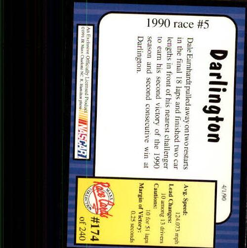 1991 Maxx #174 Dale Earnhardt/Year in Review back image