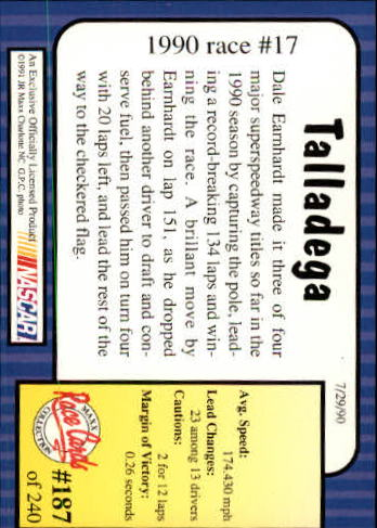 1991 Maxx #187 Dale Earnhardt/Year in Review back image