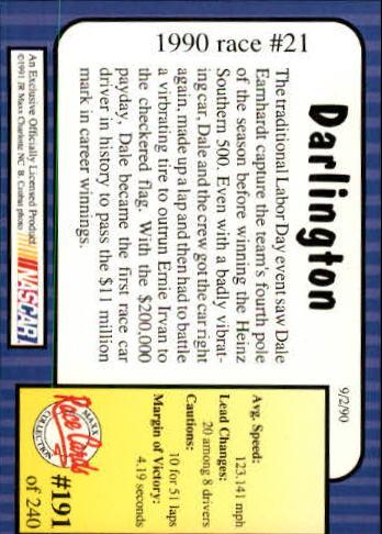 1991 Maxx #191 Dale Earnhardt/Teresa Earnhardt/Year in Review back image