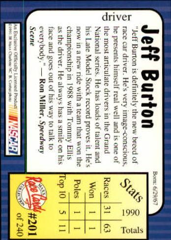 1991 Maxx #201 Jeff Burton RC back image