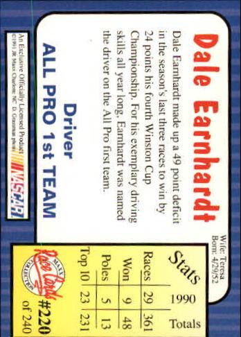 1991 Maxx #220 Dale Earnhardt All Pro back image