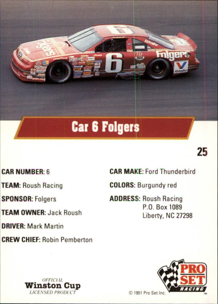 1991 Pro Set #25 Mark Martin's Car back image