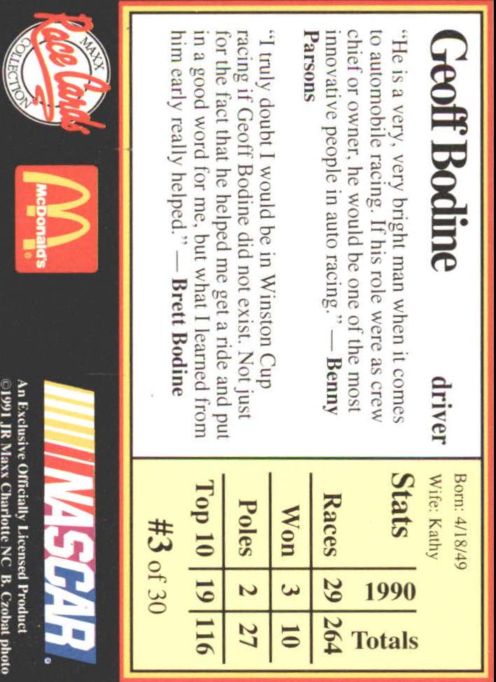 1991 Maxx McDonald's #3A Geoff Bodine ERR back image