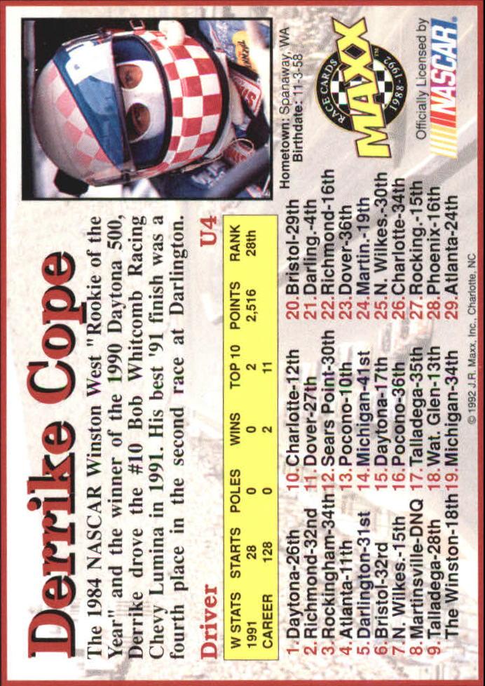 1992 Maxx Black Update #U4 Derrike Cope back image