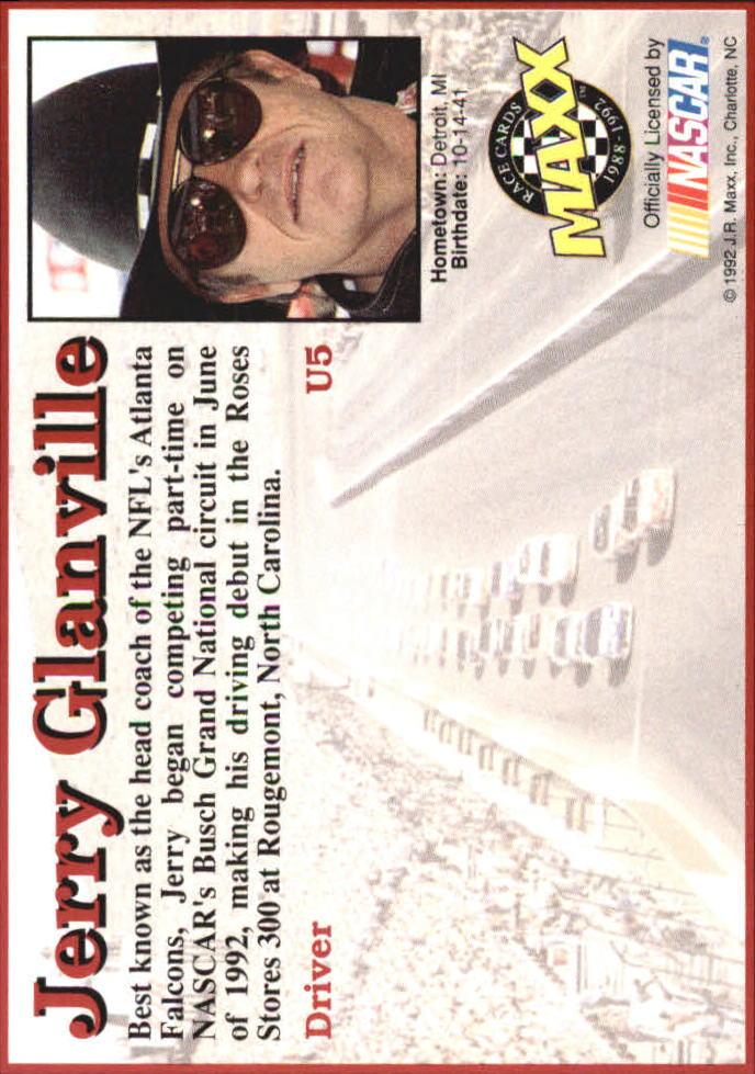1992 Maxx Black Update #U5 Jerry Glanville RC back image