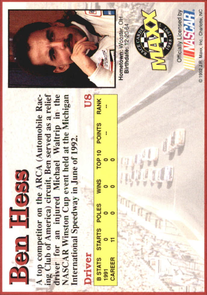 1992 Maxx Black Update #U8 Ben Hess back image