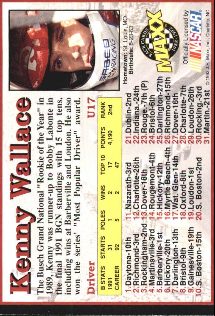 1992 Maxx Black Update #U17 Kenny Wallace back image