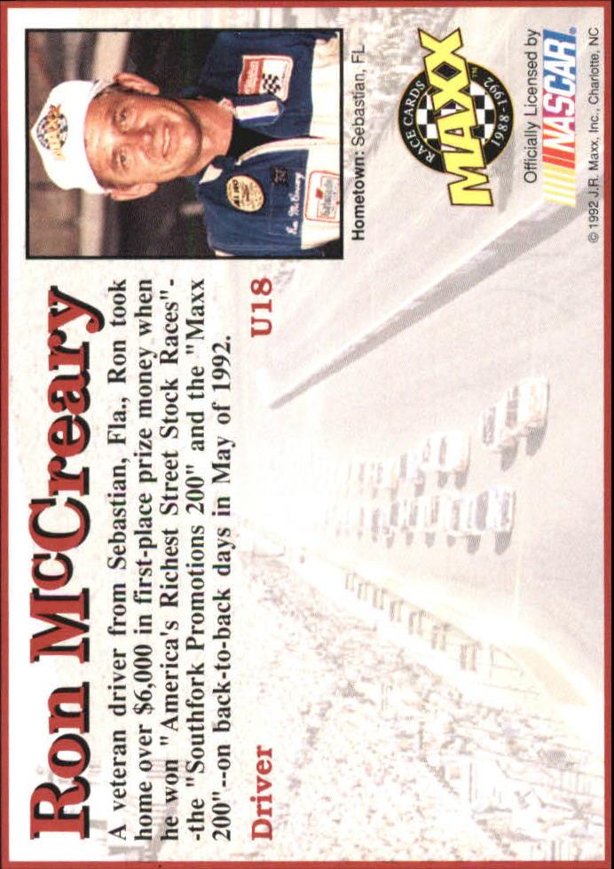 1992 Maxx Black Update #U18 Ron McCreary RC back image