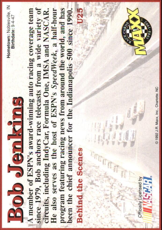 1992 Maxx Black Update #U25 Bob Jenkins back image