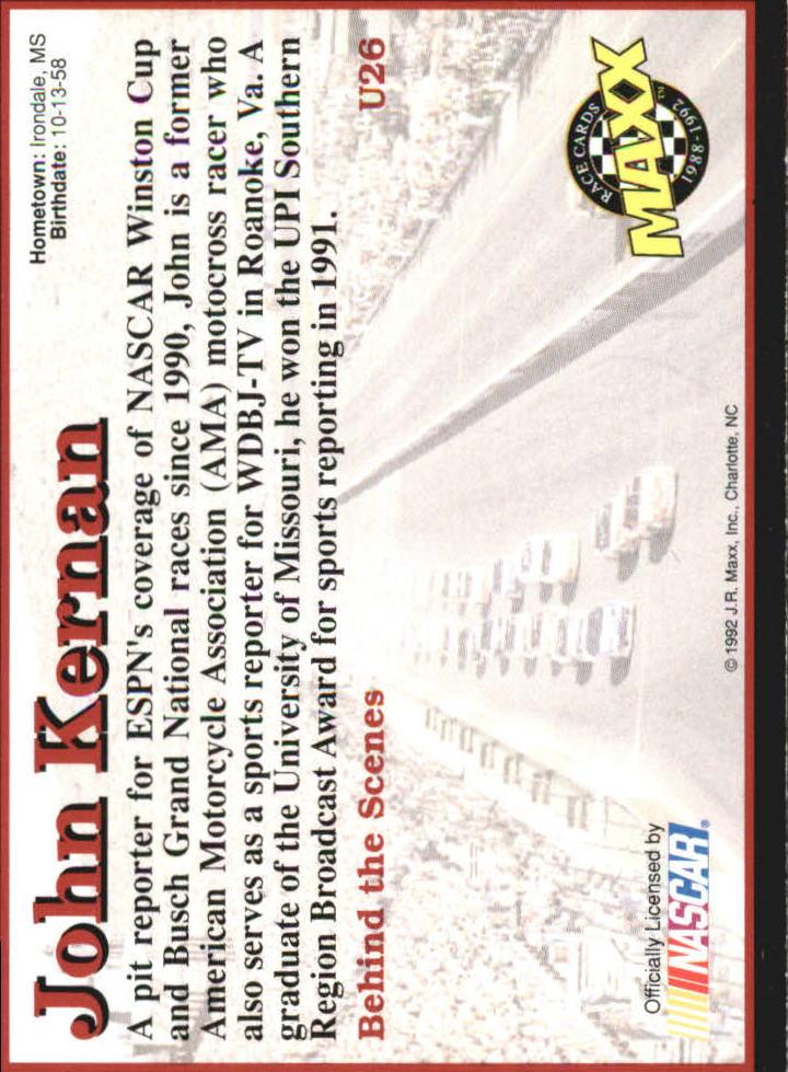 1992 Maxx Black Update #U26 John Kernan back image