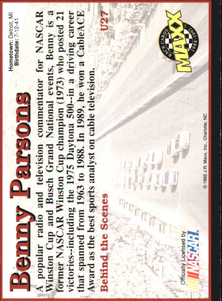 1992 Maxx Black Update #U27 Benny Parsons back image