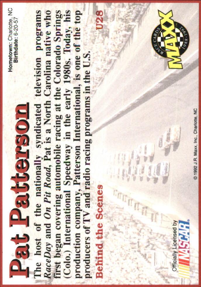 1992 Maxx Black Update #U28 Pat Patterson RC back image