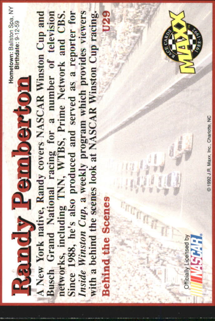 1992 Maxx Black Update #U29 Randy Pemberton RC back image