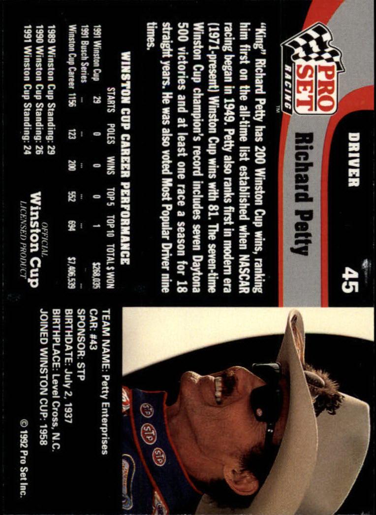 1992 Pro Set #45 Richard Petty back image