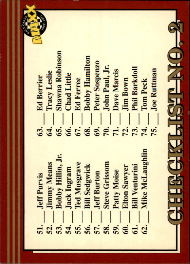 1992 Maxx Red #296 Checklist No. 2