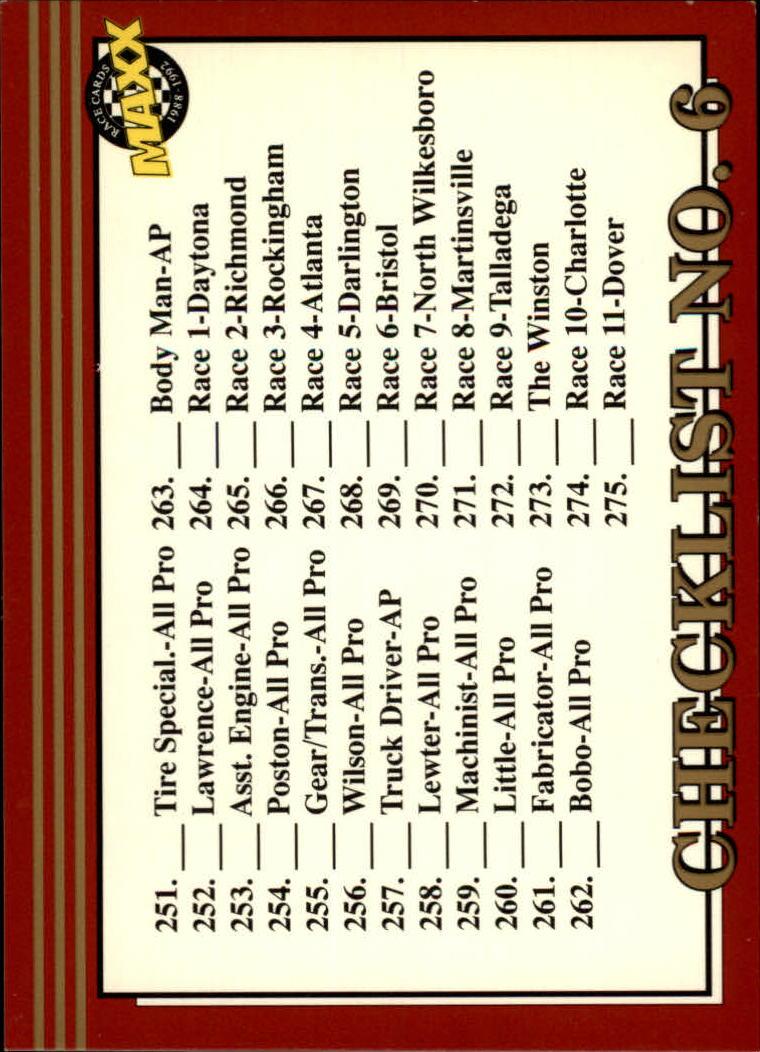 1992 Maxx Red #300 Checklist No. 6