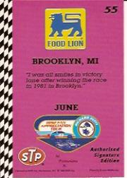 1992 Food Lion Richard Petty #55 Richard Petty 1981 back image