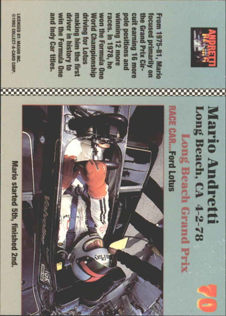 1992 Collect-A-Card Andretti Racing #70 Mario Andretti's Car back image