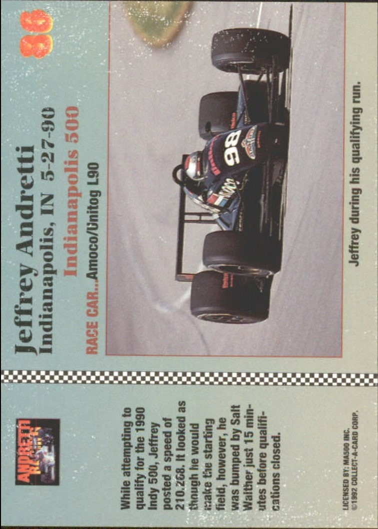 1992 Collect-A-Card Andretti Racing #86 1990 Indianapolis back image