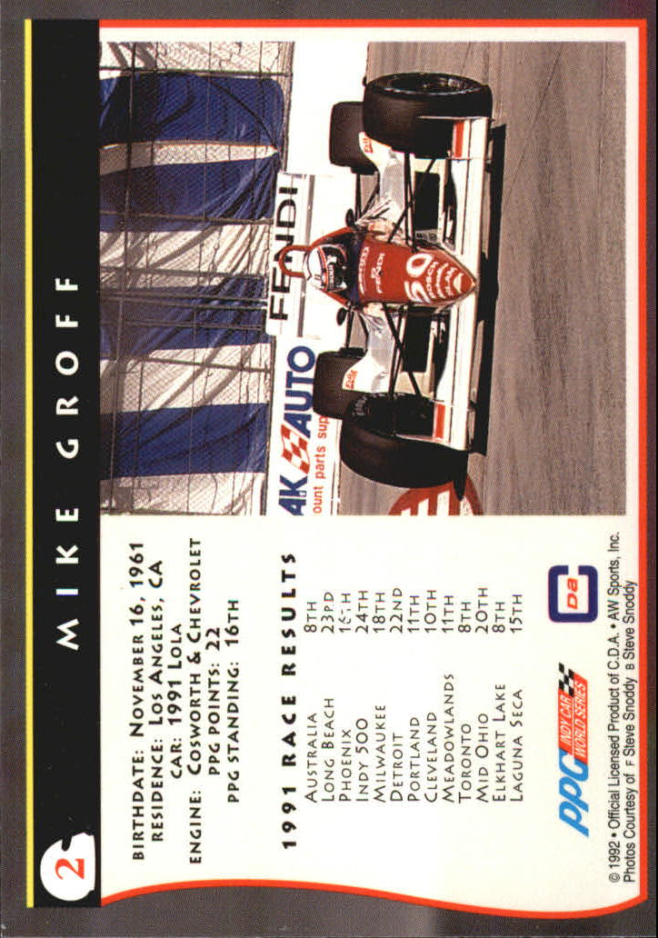 1992 All World Indy #2 Mike Groff back image