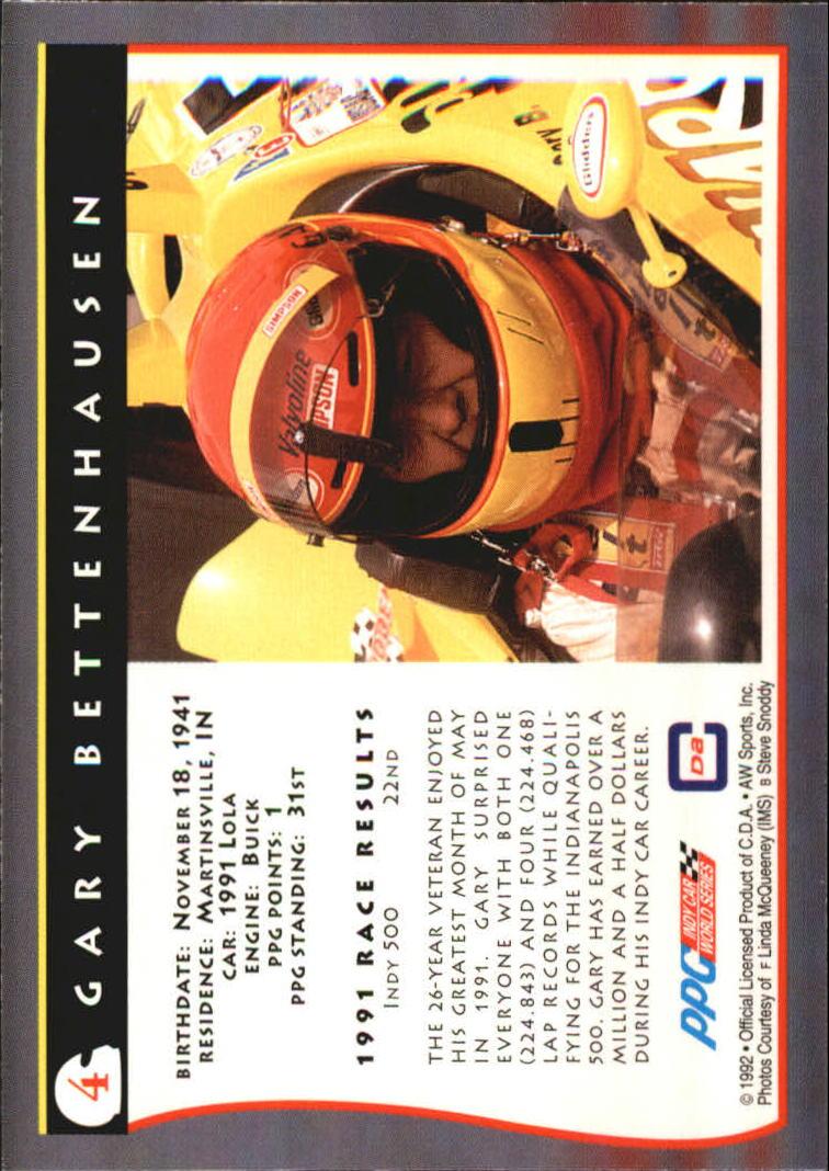 1992 All World Indy #4 Gary Bettenhausen back image