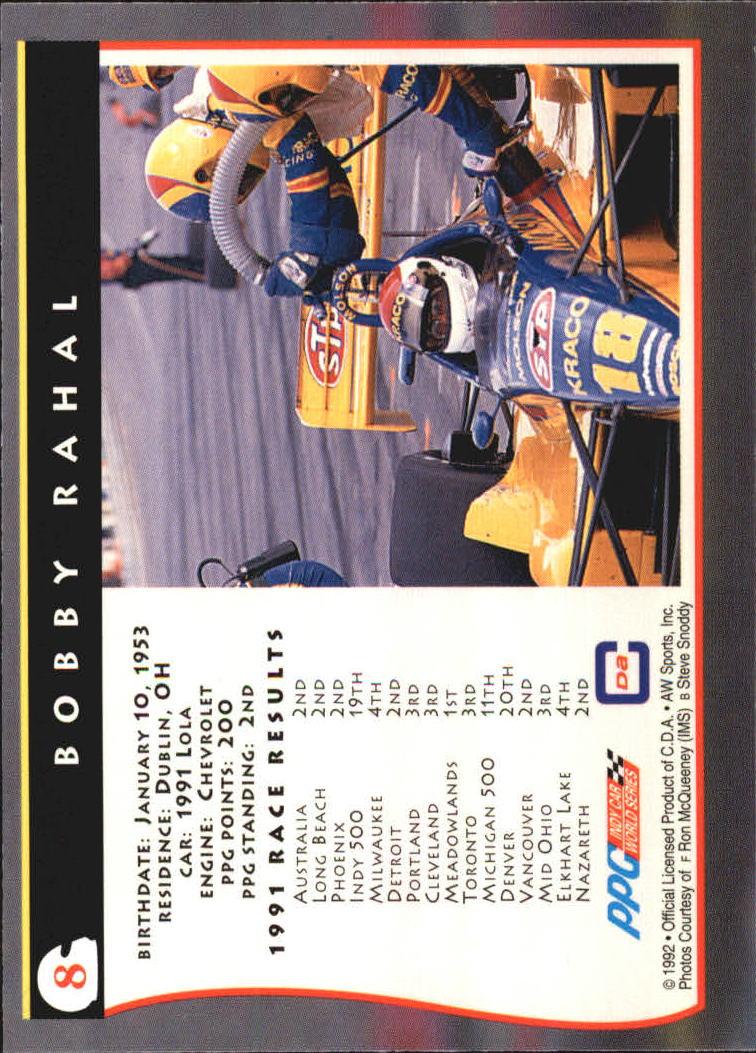 1992 All World Indy #8 Bobby Rahal back image