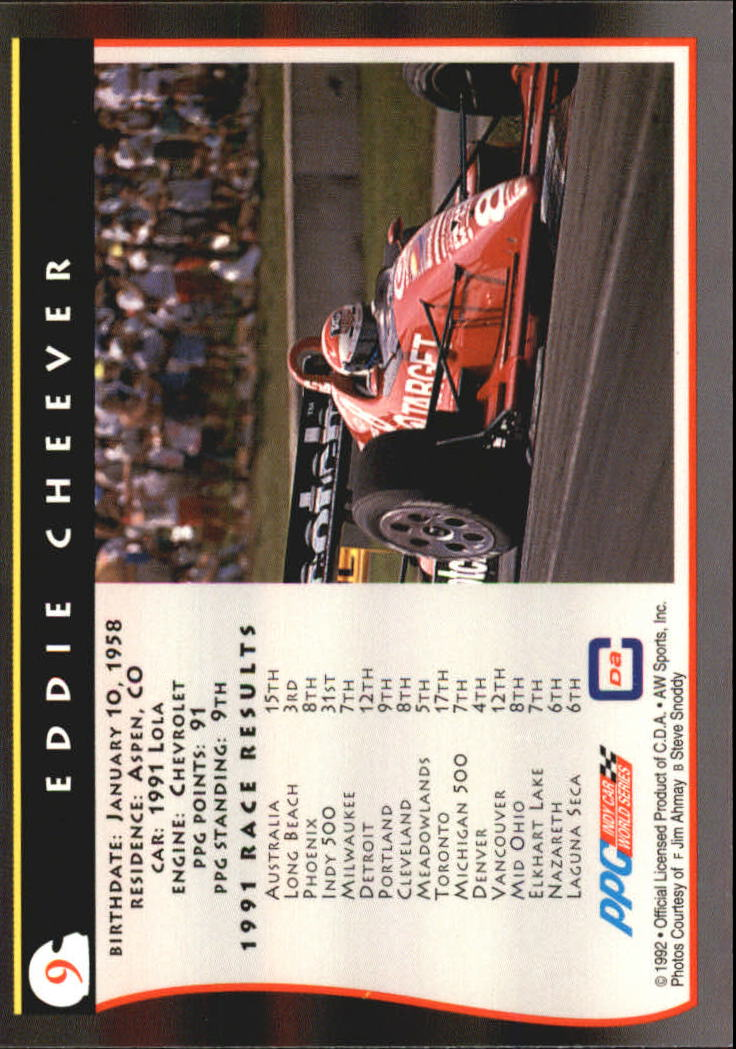 1992 All World Indy #9 Eddie Cheever back image