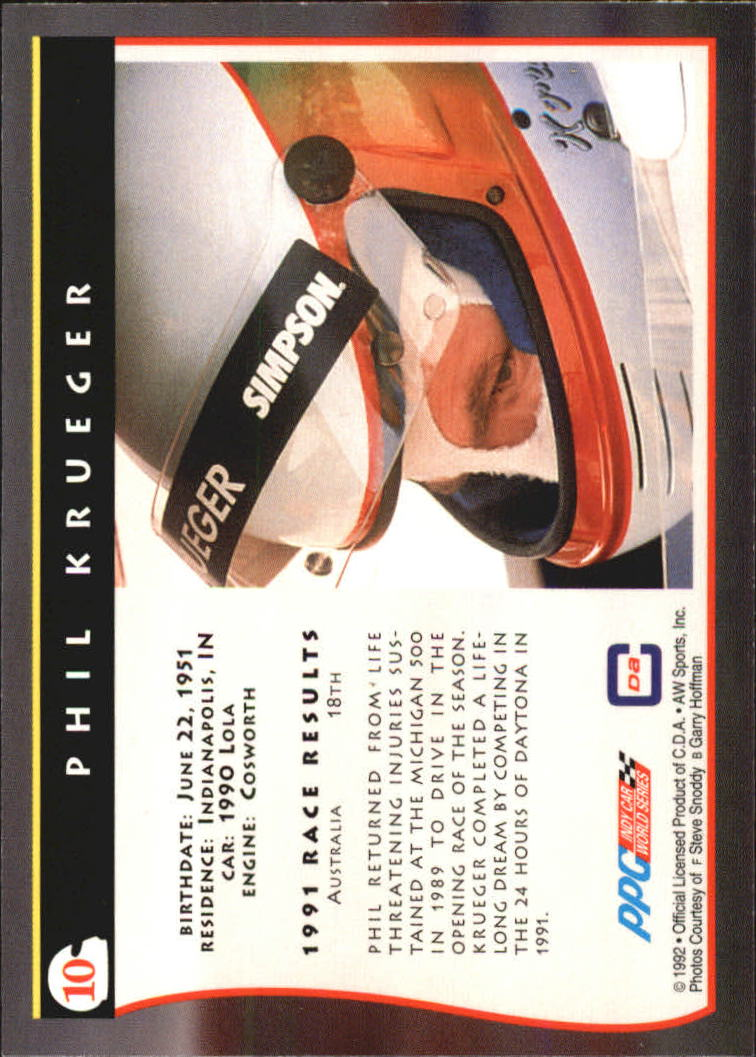 1992 All World Indy #10 Phil Krueger back image