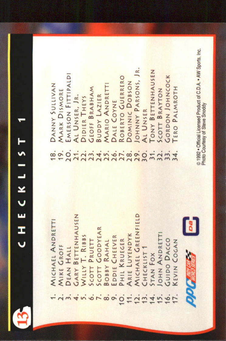 1992 All World Indy #13 Checklist back image