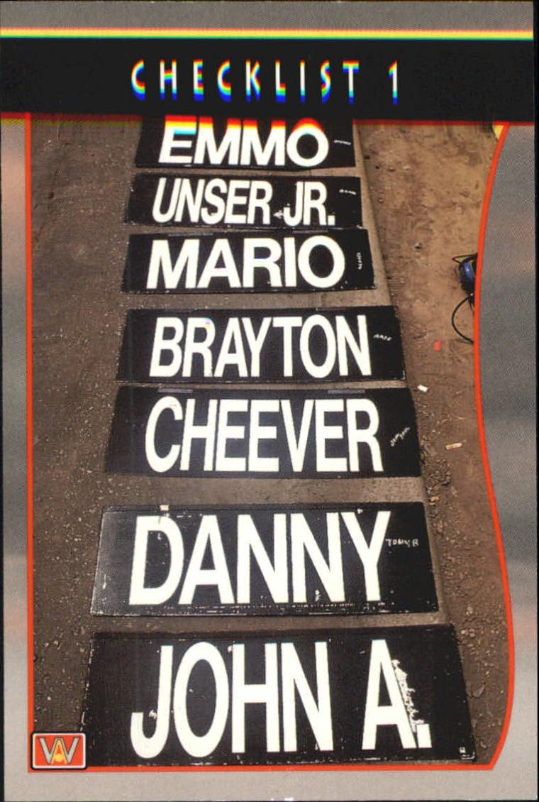 1992 All World Indy #13 Checklist