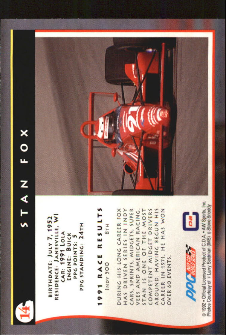 1992 All World Indy #14 Stan Fox back image