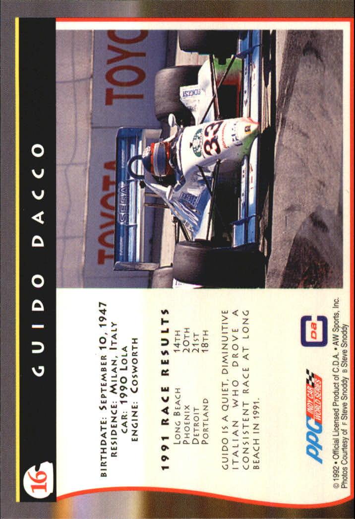 1992 All World Indy #16 Guido Dacco back image