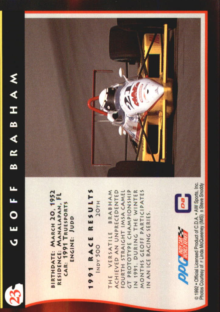 1992 All World Indy #23 Geoff Brabham back image